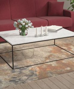 aderyn gleam marble rectangle coffee table marble with chrome legs