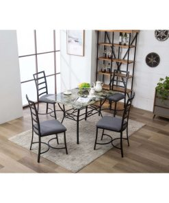 aeliana durable metal base with marble top dining table