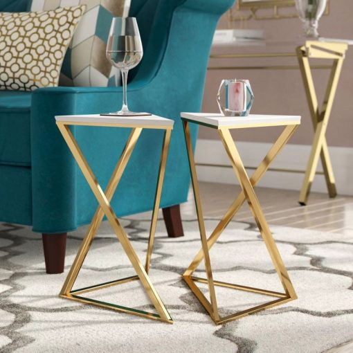 alia 2 piece white hourglass accent tables with gold frames set