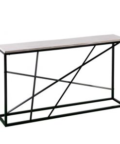 alinta white marble and black metal silhouette frame console table