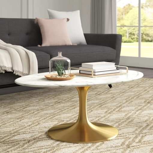 alissa oval shaped artificial marble coffee table