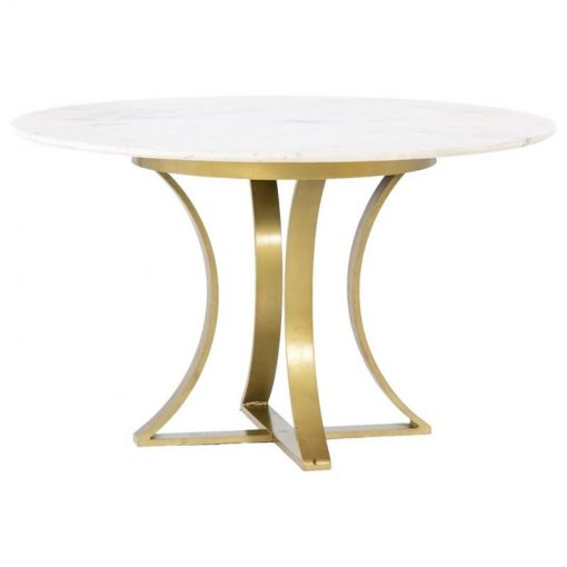 alouette round white marble and antique brass leg dining table