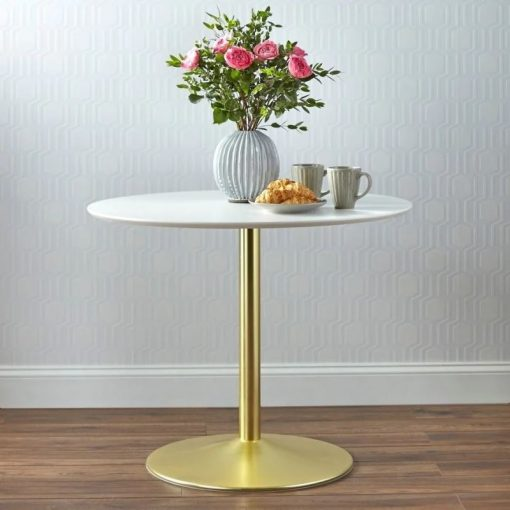 amabel round marble top and sleek chrome metal base dining table