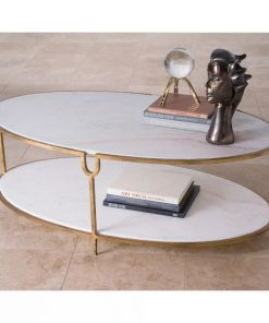 amira iron and stone oval coffee table