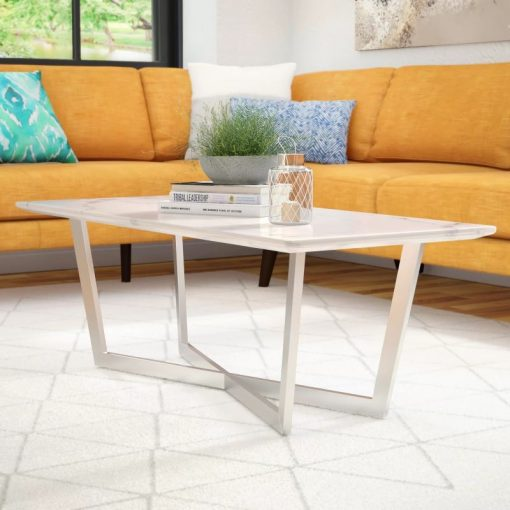anastasia marble round coffee table in stainless steel base