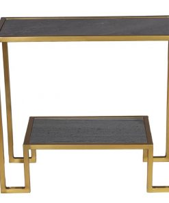 andi two tiers marble top and golden metal frame console table