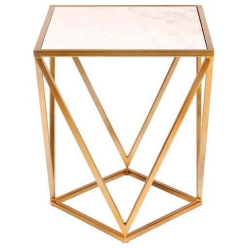 annistyn marble top and angled geometric base end table