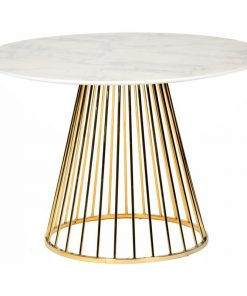 araminta white marble table top with gold stainless steel base