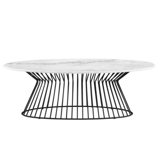 aria marble top with black metal frame table