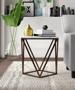 arianne marble top end table in stone and antique brass