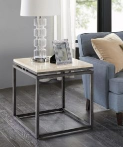arielle elegance cream marble and metal end table