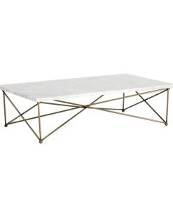 aurelia antique brass finish frame with carrara top coffee table