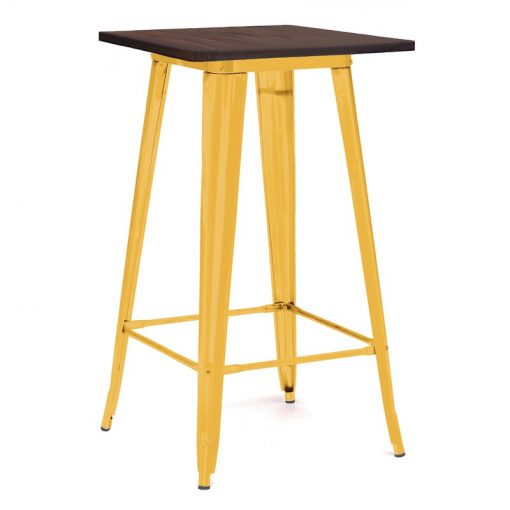 avery solid elm wood tabletop and steel base pub table