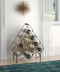 bastille 13 bottle quatrefoil design metal floor wine rack
