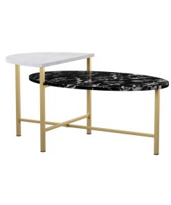 bionda high and low countertop coffee table in antique brass base