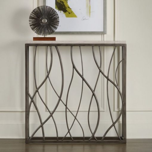 blaise white marble top and thin metal console table