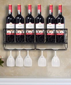 bonnie wall mounted metal wine bottle storage and glass holder home bar decor