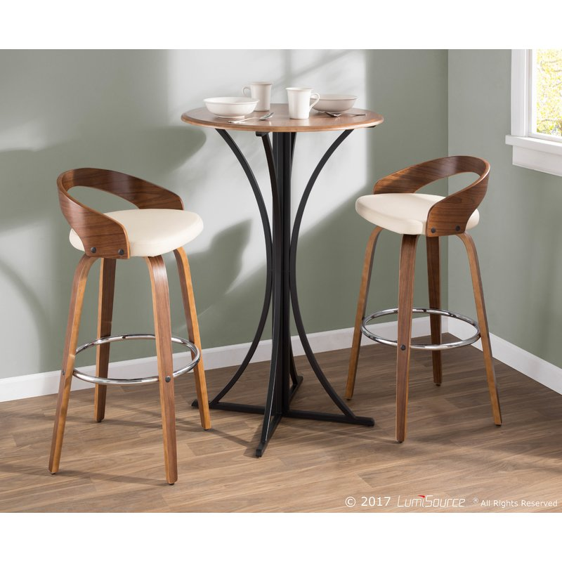 Bosque Wooden Round Top And Geometric Metal Base Pub Table Mocome