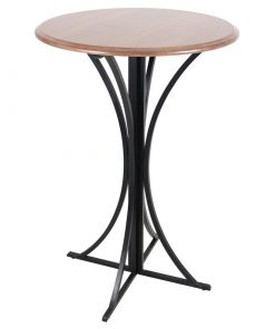 bosque wooden round top and geometric metal base pub table