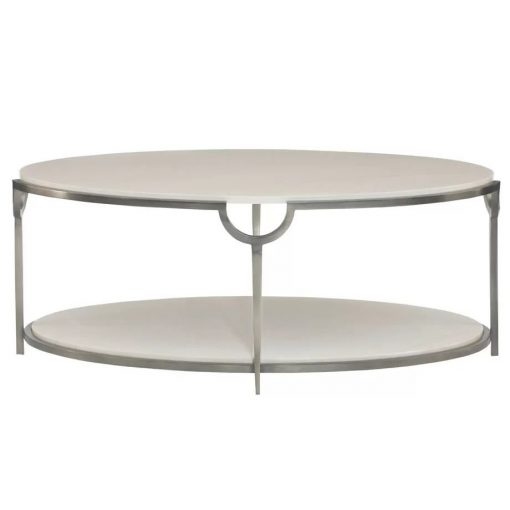 boswell faux carrara oval marble metal cocktail table