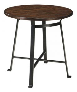 bowie circular top with four leg metal frame pub table