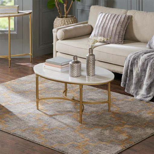 byron goldtone metal oval coffee table with white marble top coffee table