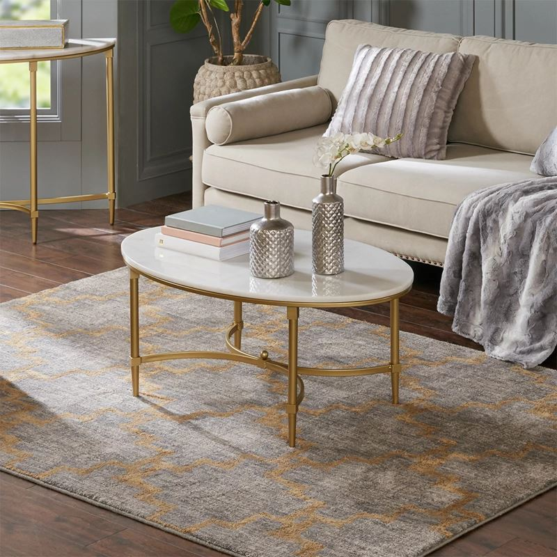 Byron Goldtone Metal Oval Coffee Table with White Marble ...