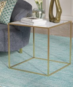 calais white marble top and brushed brass legs end table