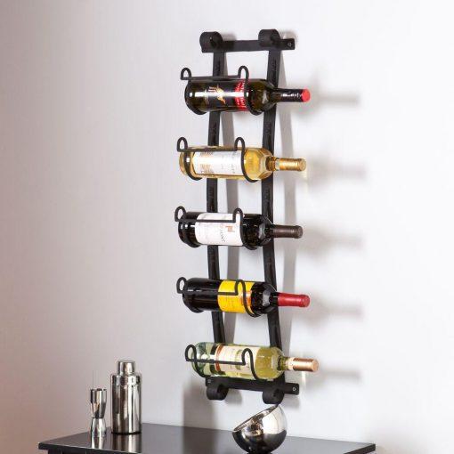 callan wall mount 5 bottle wine rack in black