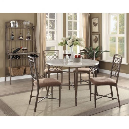 calliope round white marble tabletop with thick metal base dining table