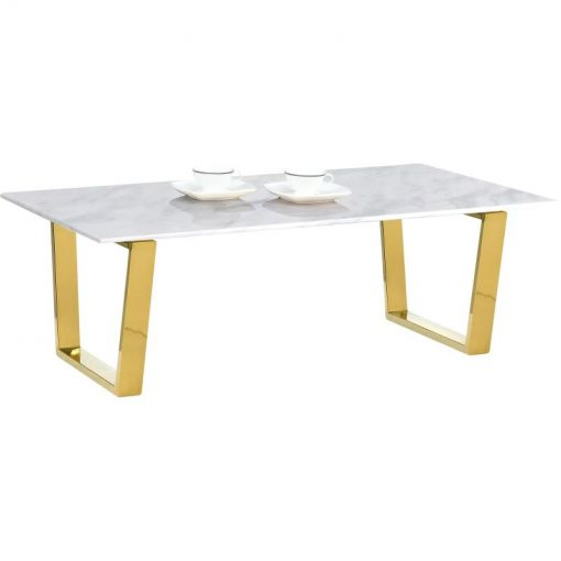 cardall rectangular gold white marble coffee table