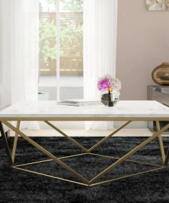 cargo gold coffee table with white marble top