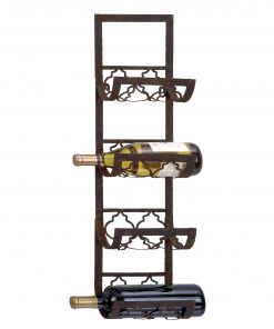 carla traditional rectangular 4 bottle iron wall wine rack