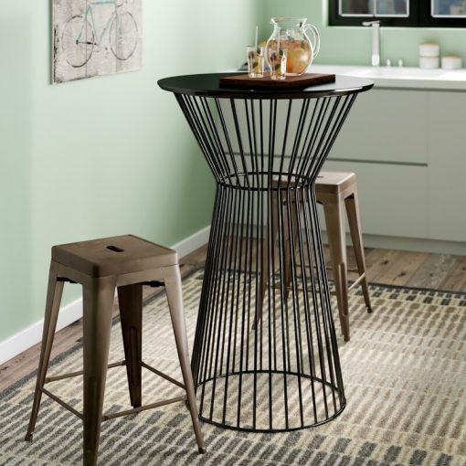 carmen wood top and metal frame bar table