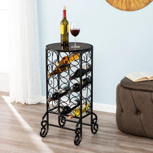 cassia glass topped black iron scrollwork wine table