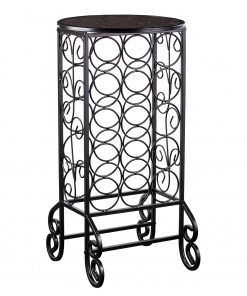 alexandra eclectic metal 26 bottle cello wine rackcassia glass topped black iron scrollwork wine table1