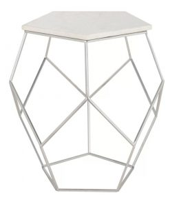 castille silver faux marble top and metal frame end table