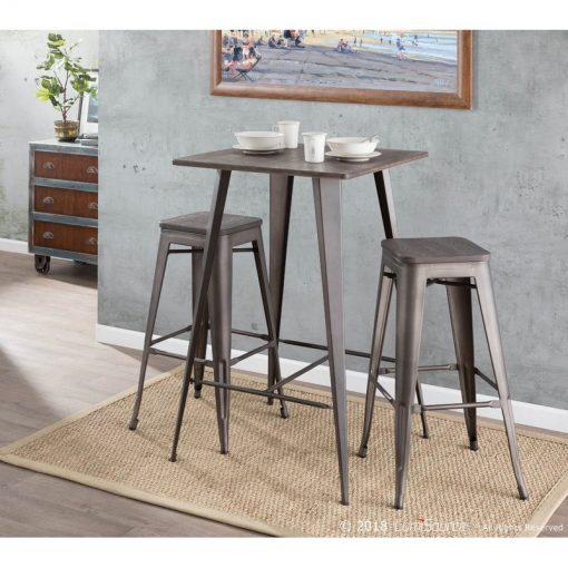 celina wood tabletop and tapered steel legs with a footrest pub table