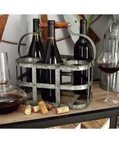 chamonix 6 bottle distressed metal tabletop wine rack