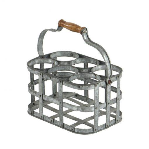 chamonix 6 bottle distressed metal tabletop wine rack