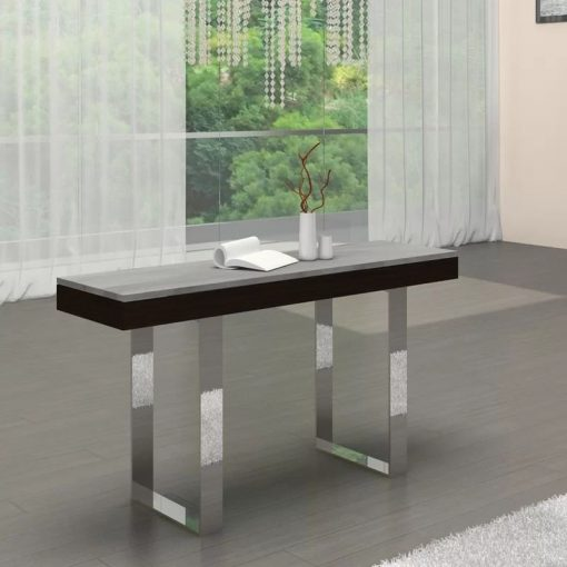clemence polished wenge veneer and grey marble console table