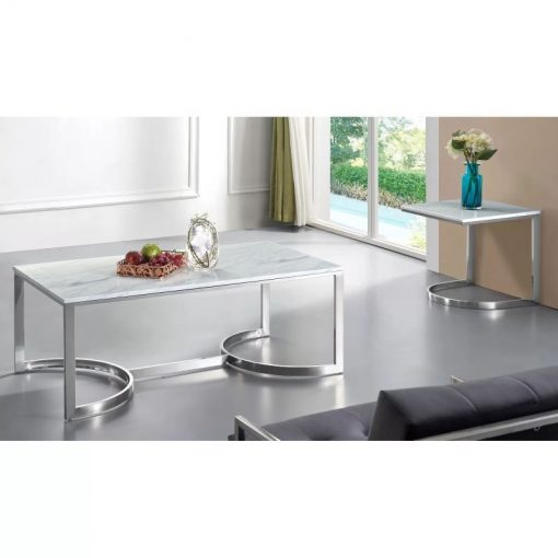 clementine chrome coffee table genuine marble top