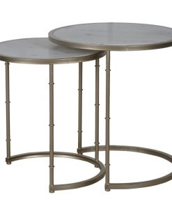 corey 2 piece antique metal stacking tables