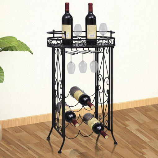 corey 9 bottle and 6 wine glasses wine rack