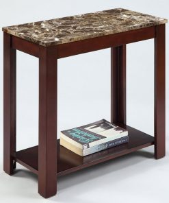 corey marble top cappuccino wood side end table