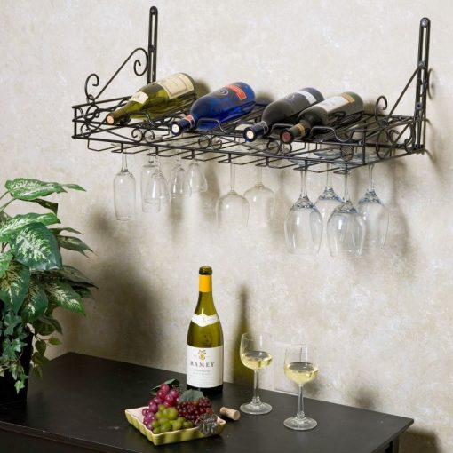 cornelia 8 bottle metal wall mounted wine holders with glass rack
