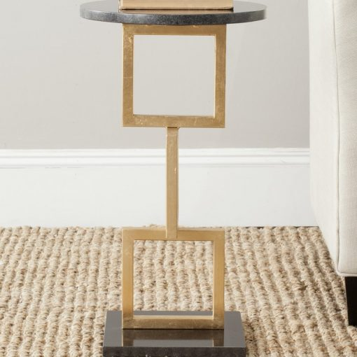 coterie modern gold and black marble top end table