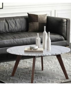 daniella marble round coffee table in walnut