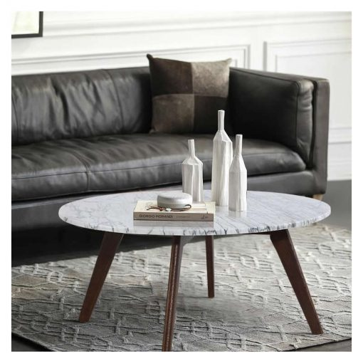 daniella marble round coffee table in walnut