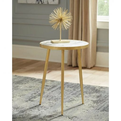 daybreak white and gold round accent table